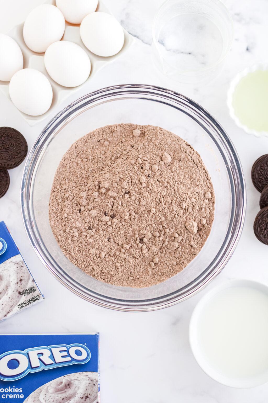 oreo poke cake ingredients in bowl