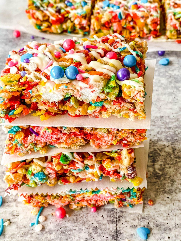 rainbow rice krispie treats bars stacked
