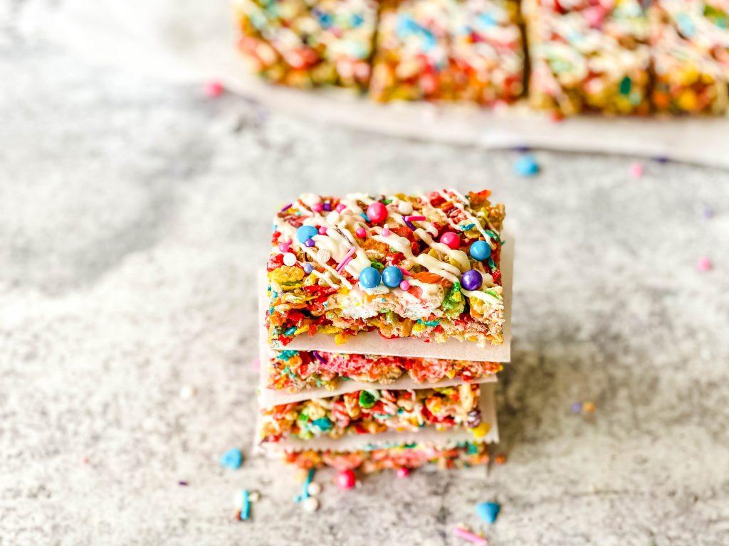 rainbow rice krispie treats stacked
