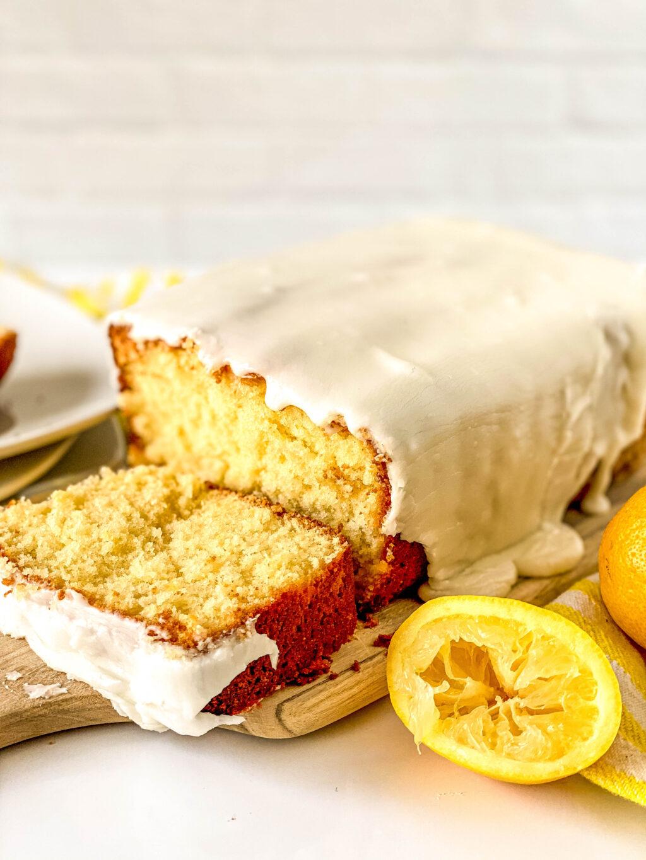 copycat starbucks lemon loaf slice on table