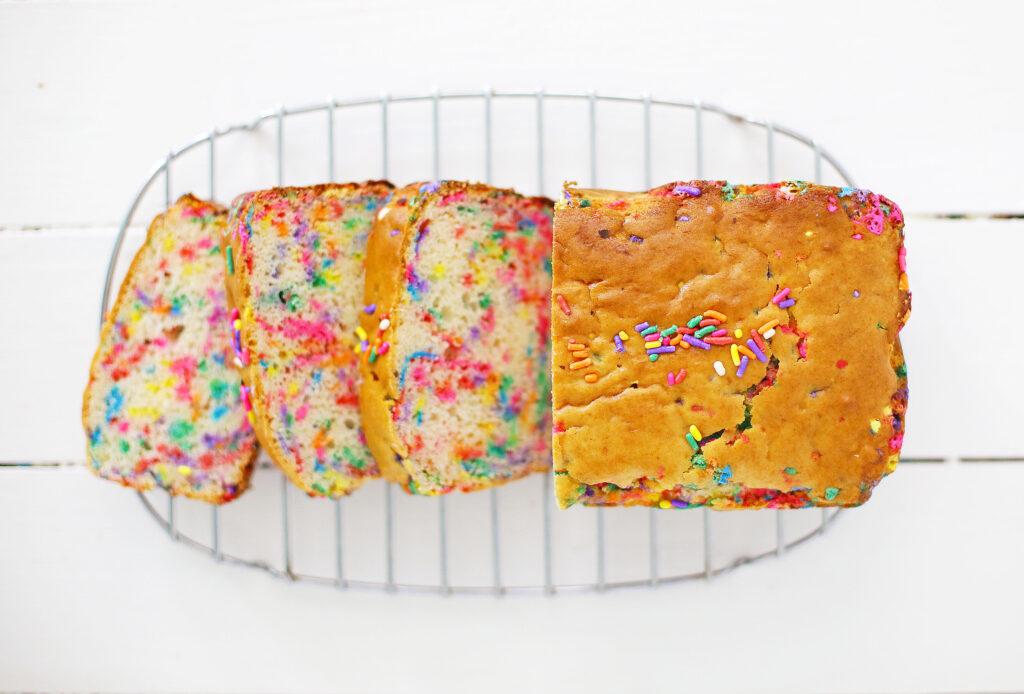 funfetti ice cream bread sliced