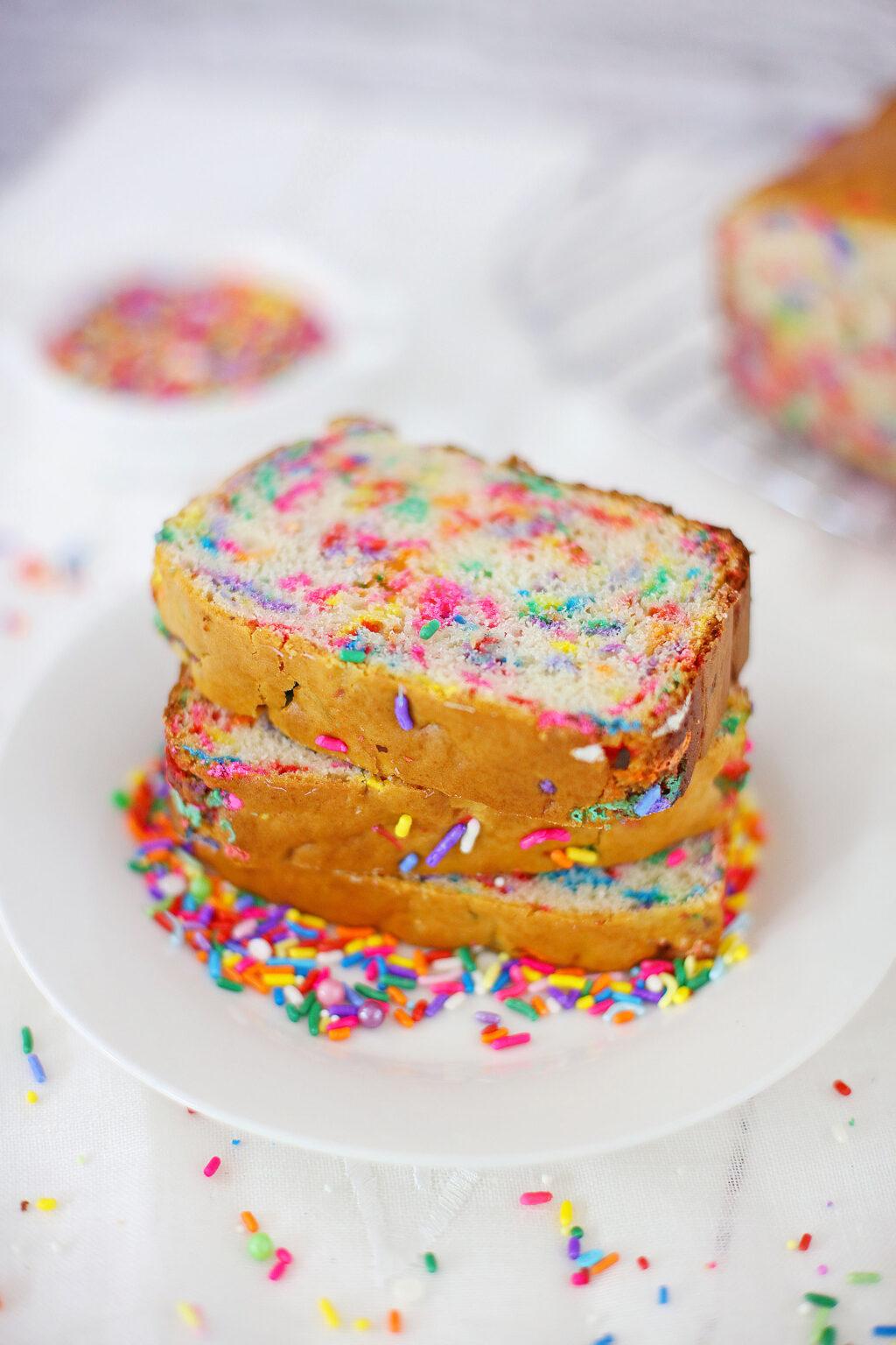 slices of funfetti ice cream bread stacked