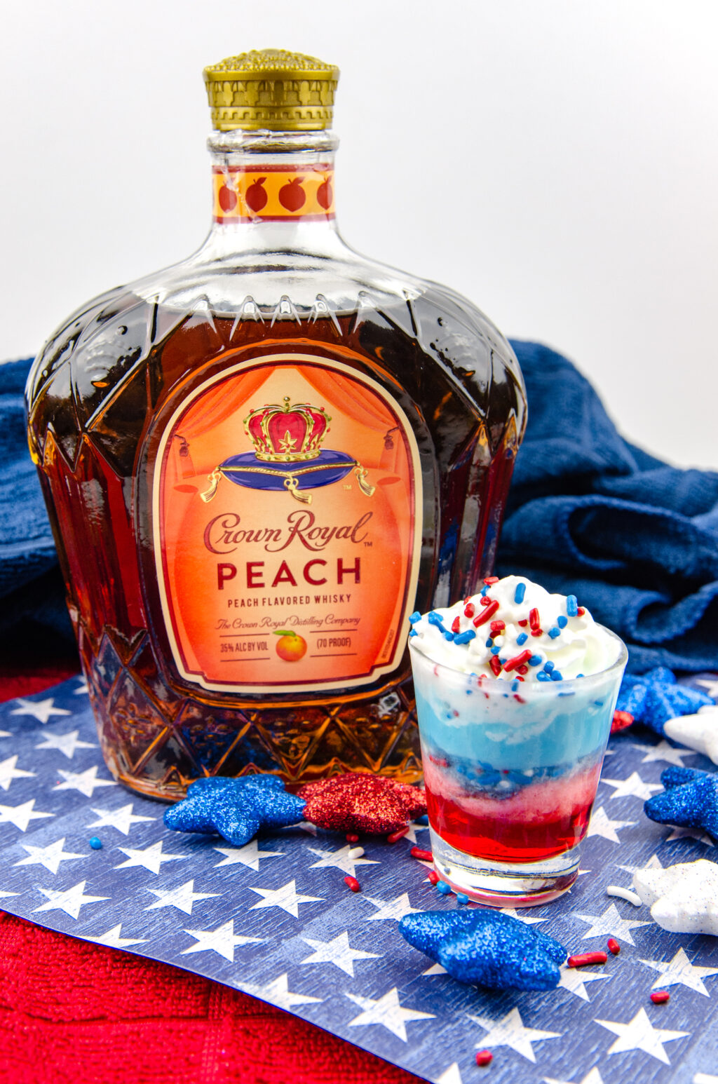red, white and blue shot on table