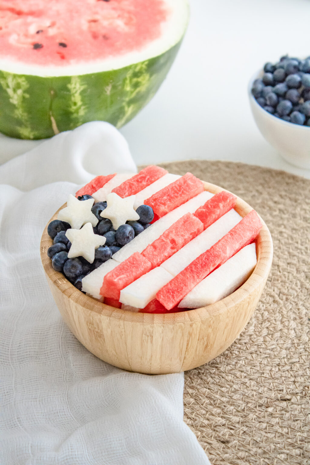 4th of july fruit salad in wooden bowl