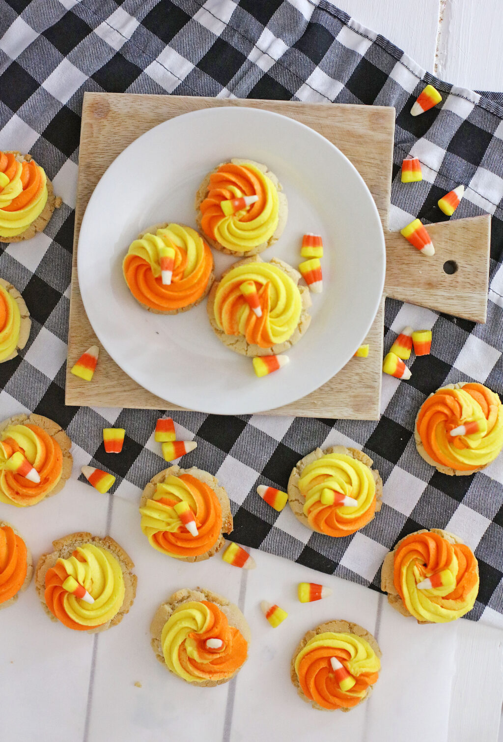candy corn cookies laid across a table