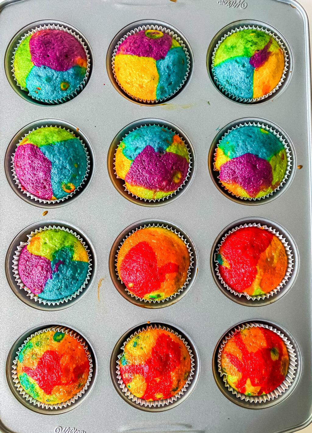 rainbow cupcakes in cupcake pan