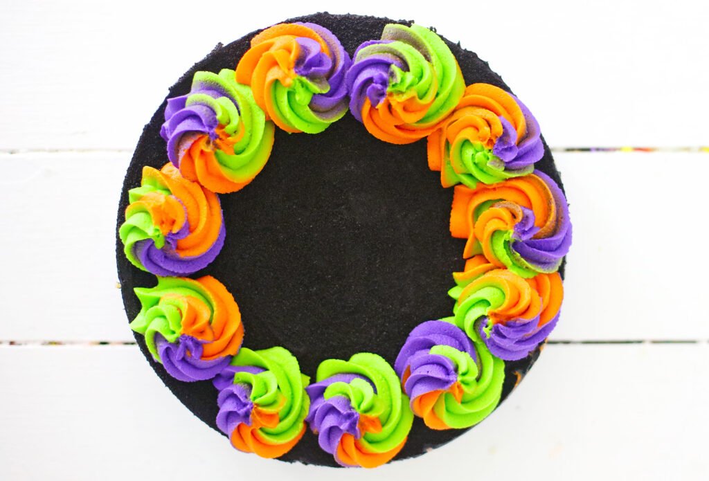 top view of no bake halloween cheesecake