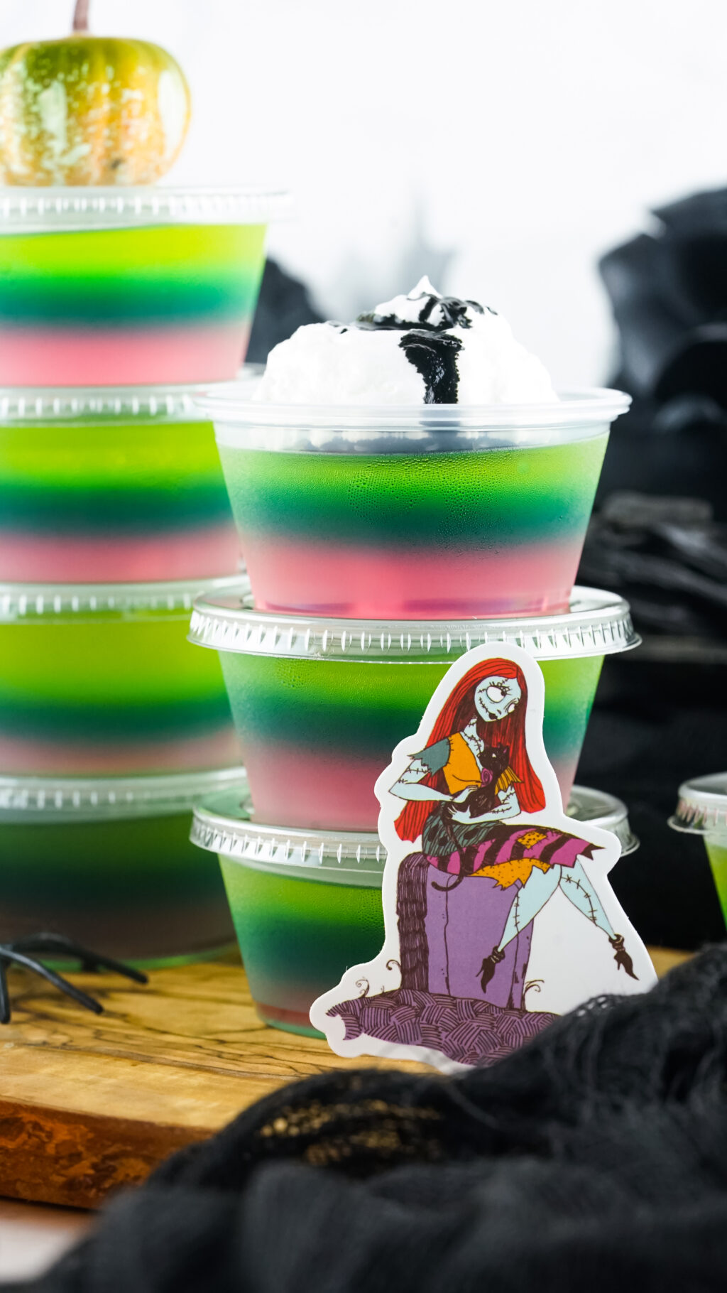 side view of sally jello shots