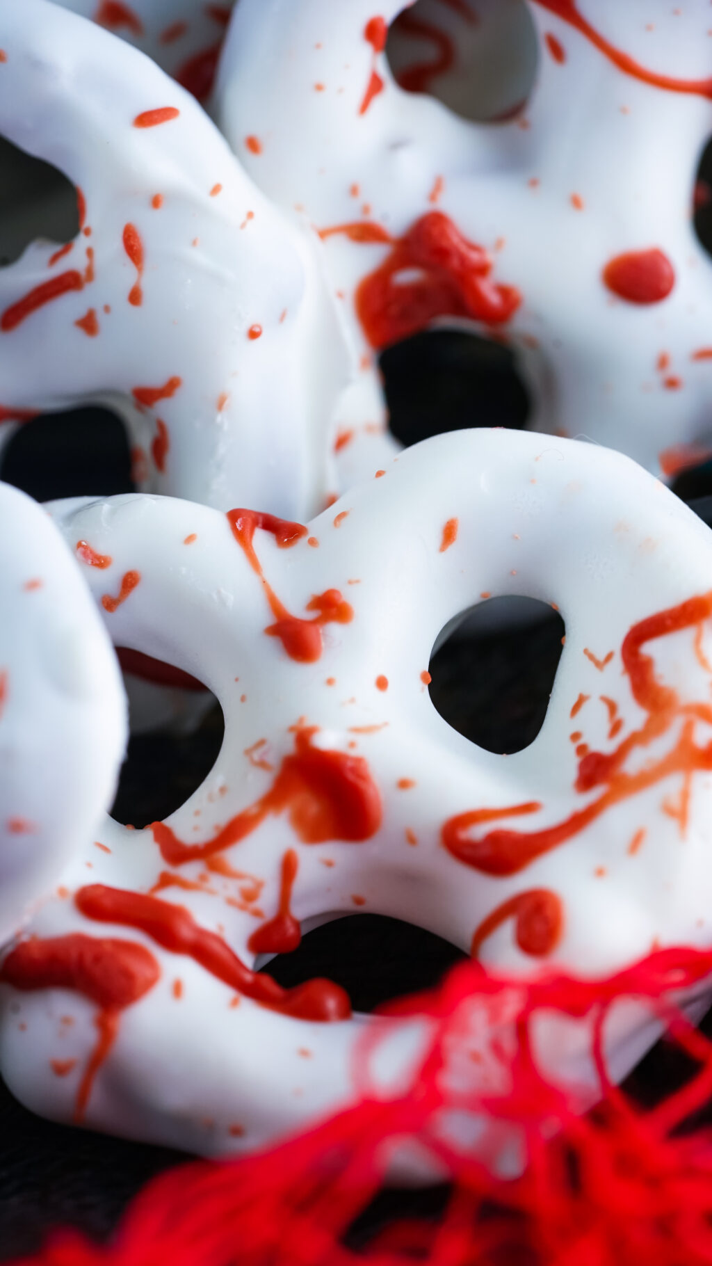 upclose image of a bloody pretzel for halloween