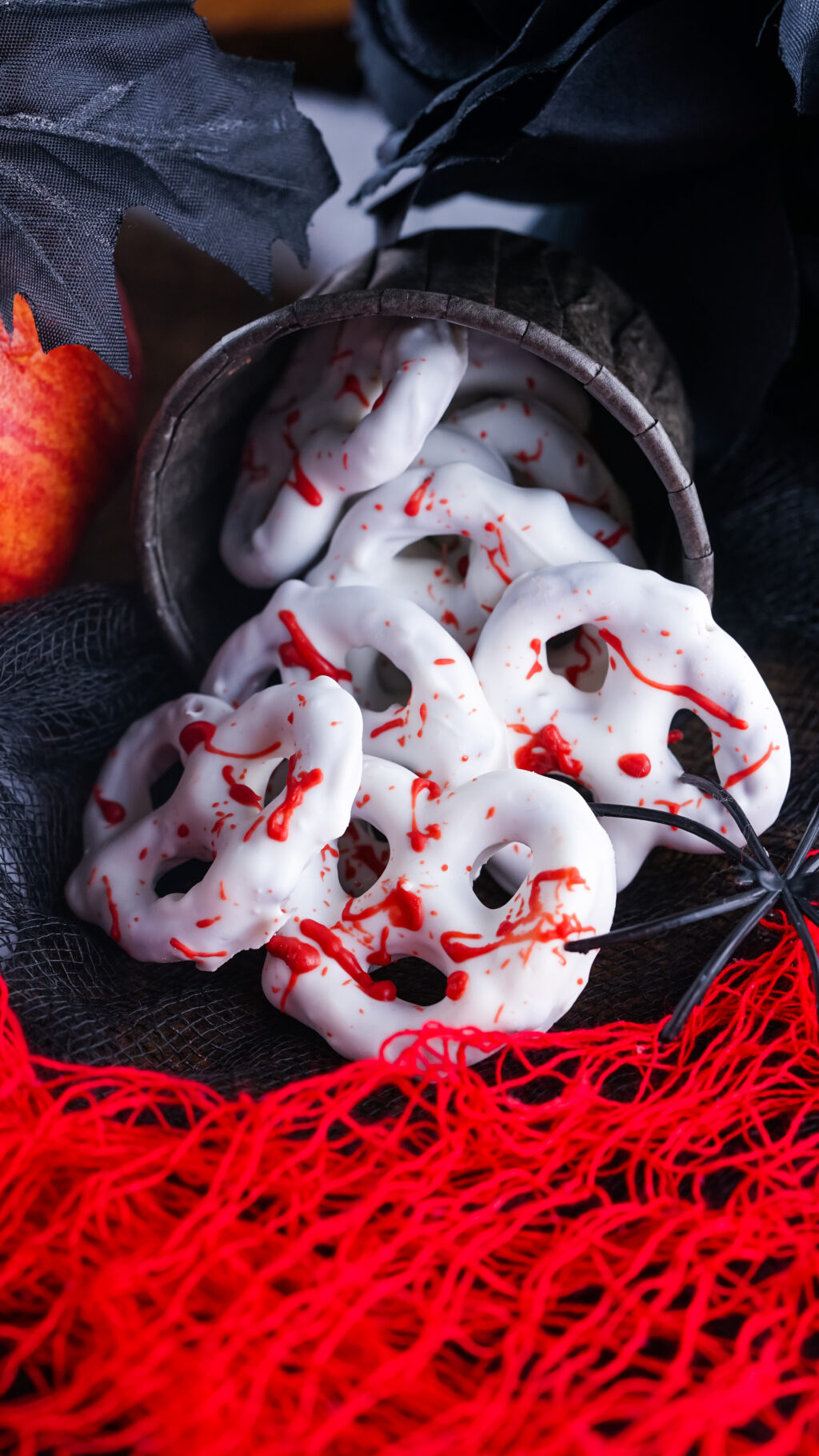 container of bloody pretzels for halloween
