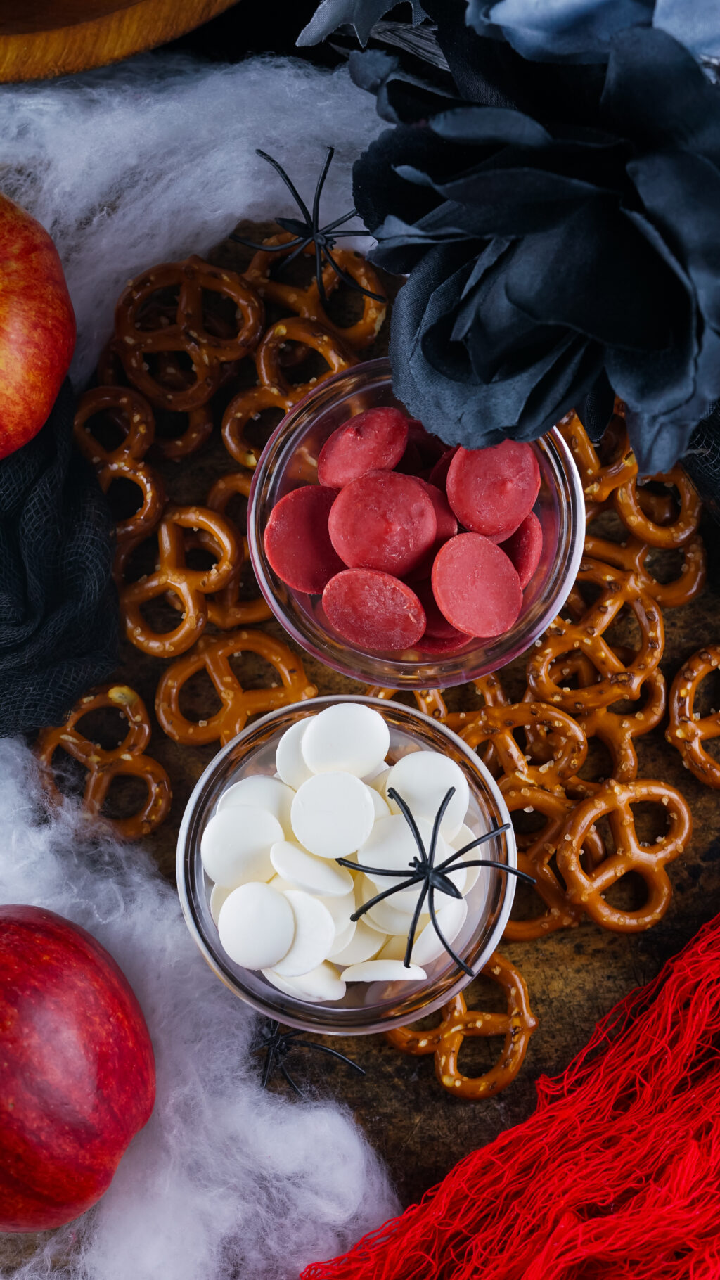 bloody pretzel ingredients on a table