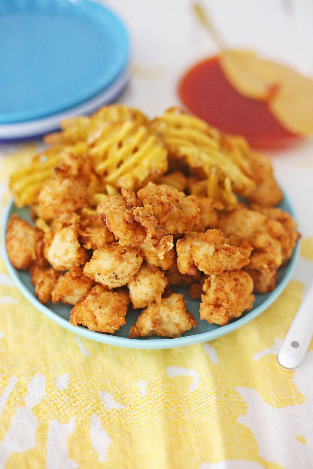 chick-fil-a nuggets on a blue plate