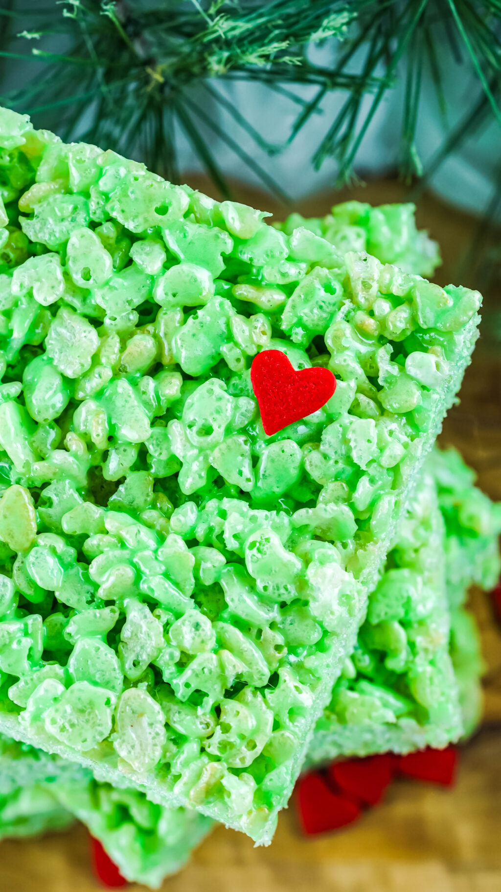green grinch rice krispies treat up close