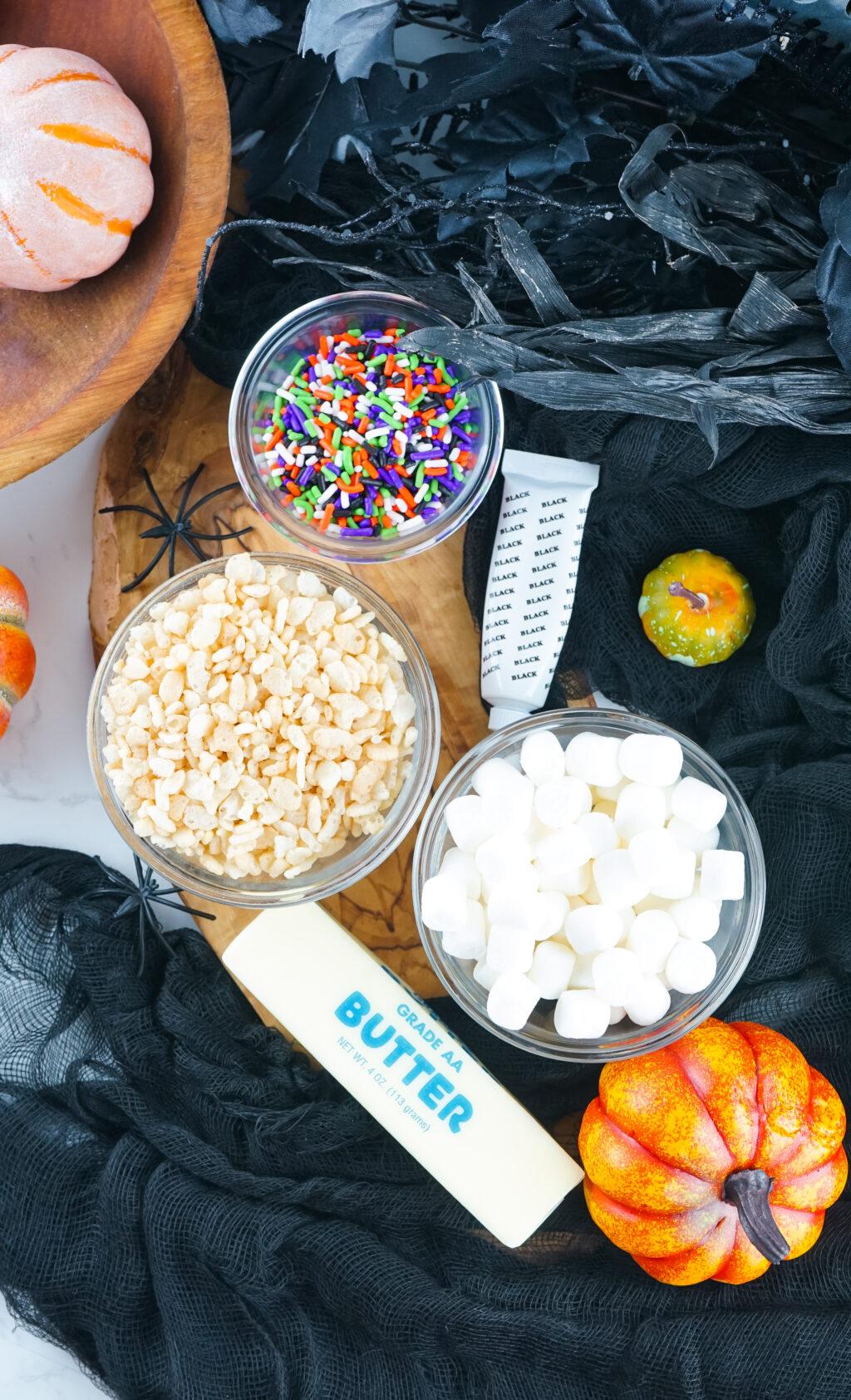 halloween rice krispie treats ingredients on table