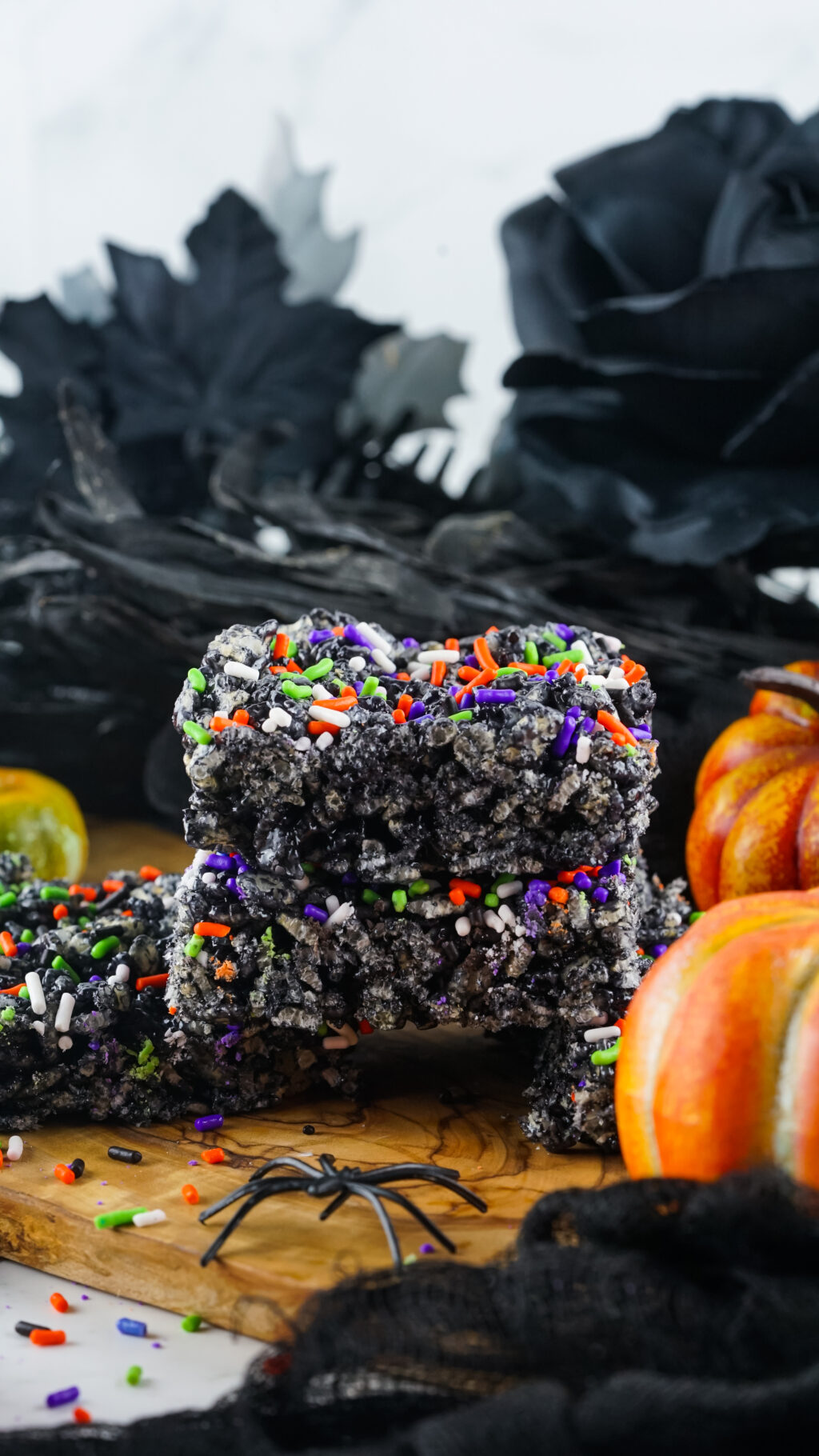 halloween rice krispie treats stacked