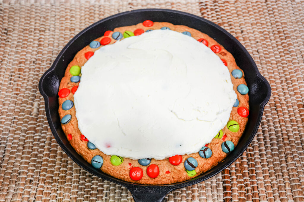 cookie skillet decorated with frosting