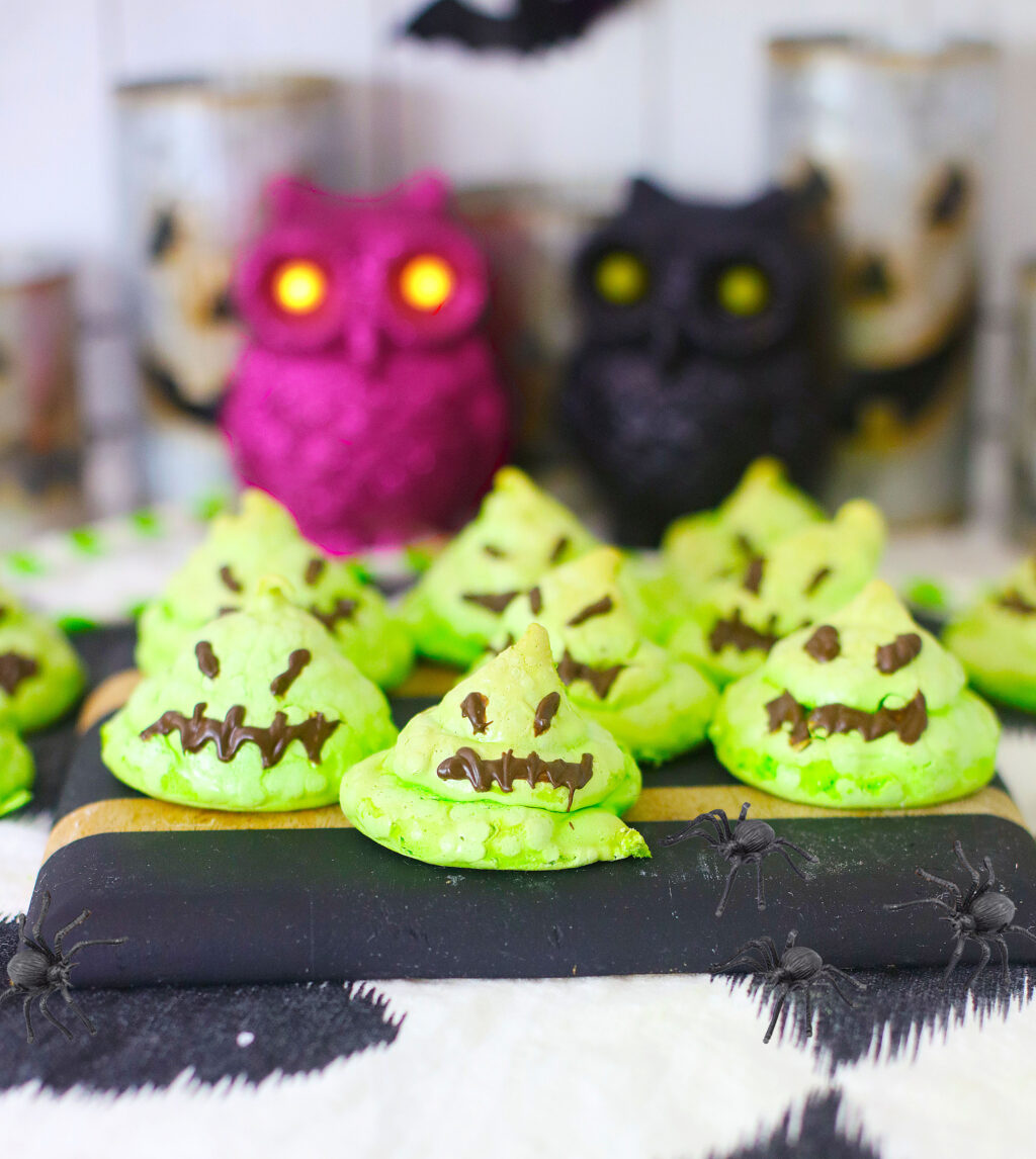 oogie boogie cookies on a cutting board