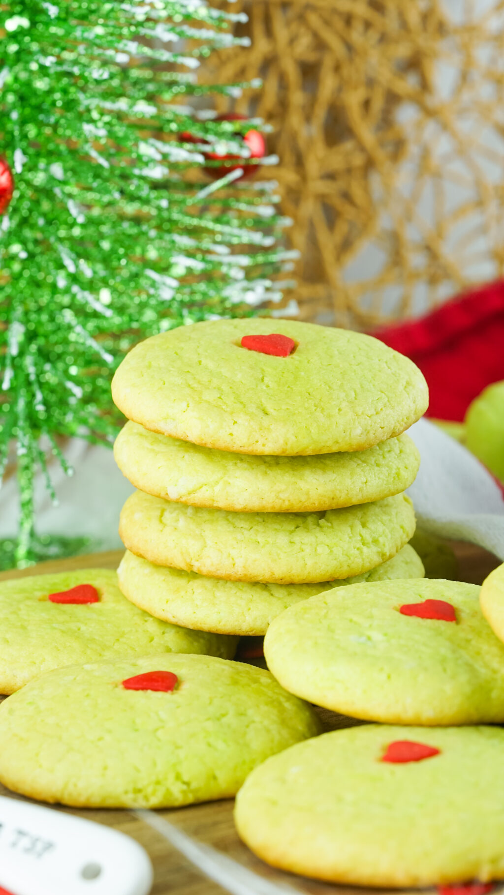 grinch cake mix cookies stacked