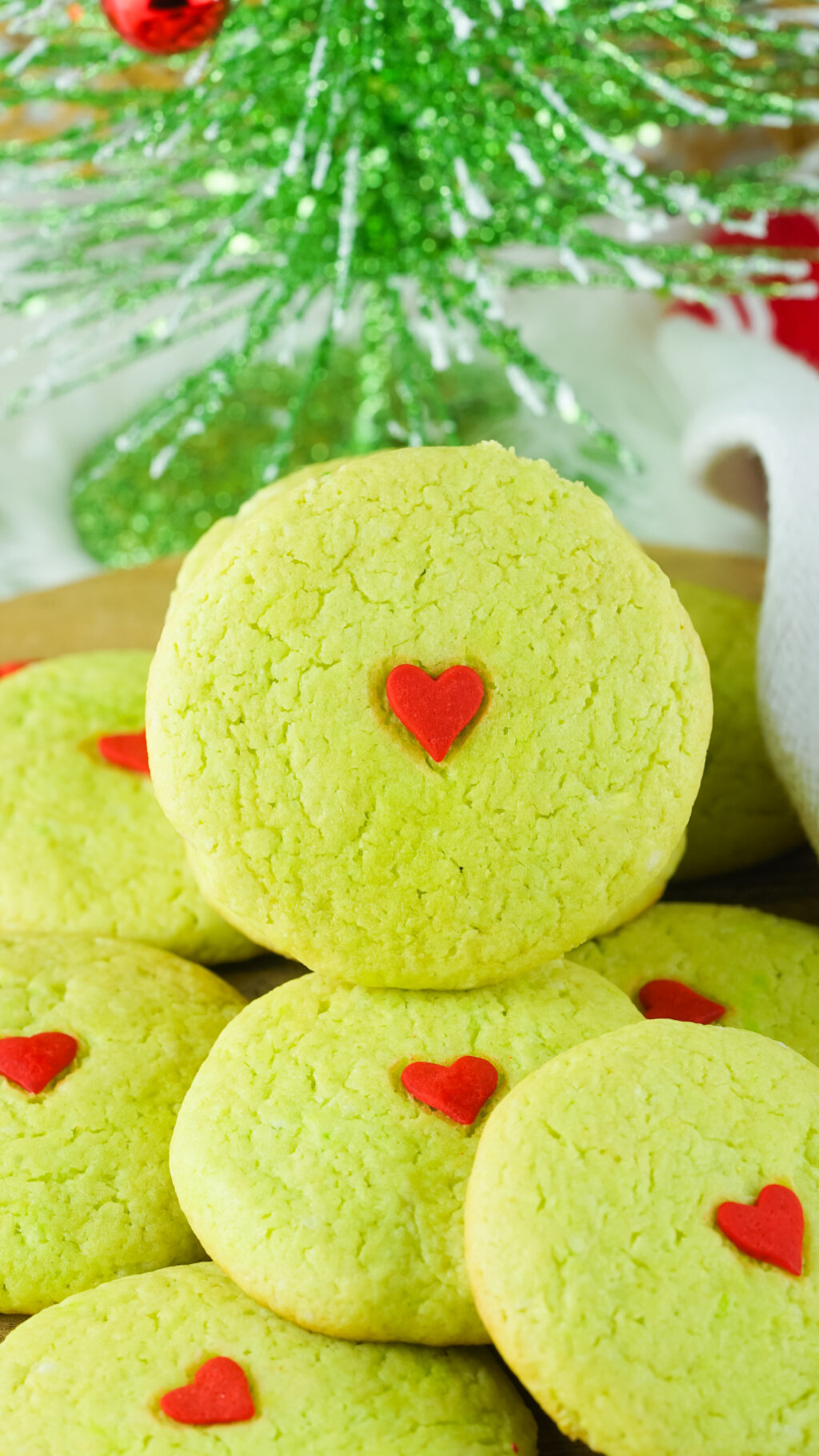 grinch cake mix cookies on a table