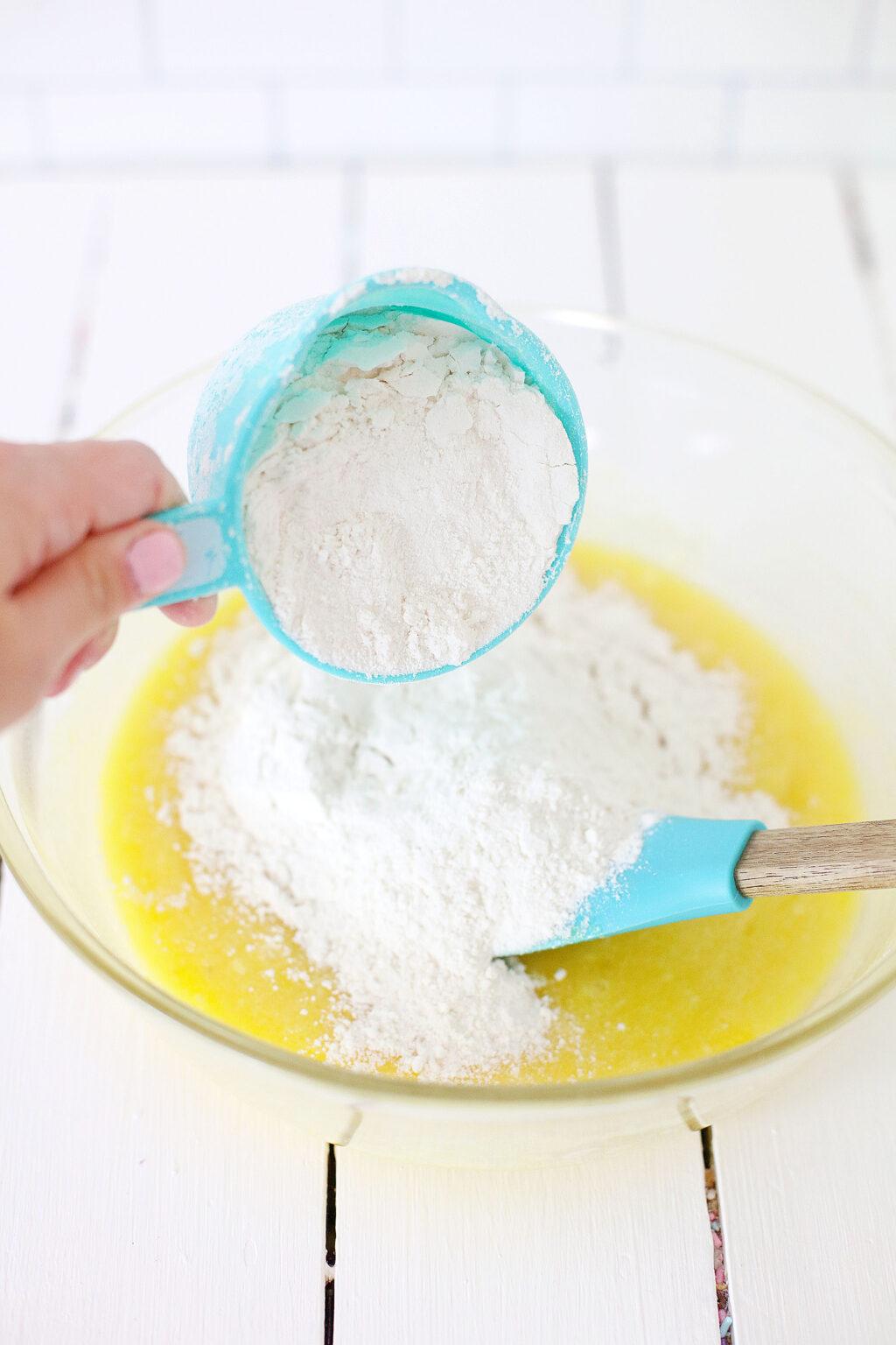 grinch donut ingredients in bowl