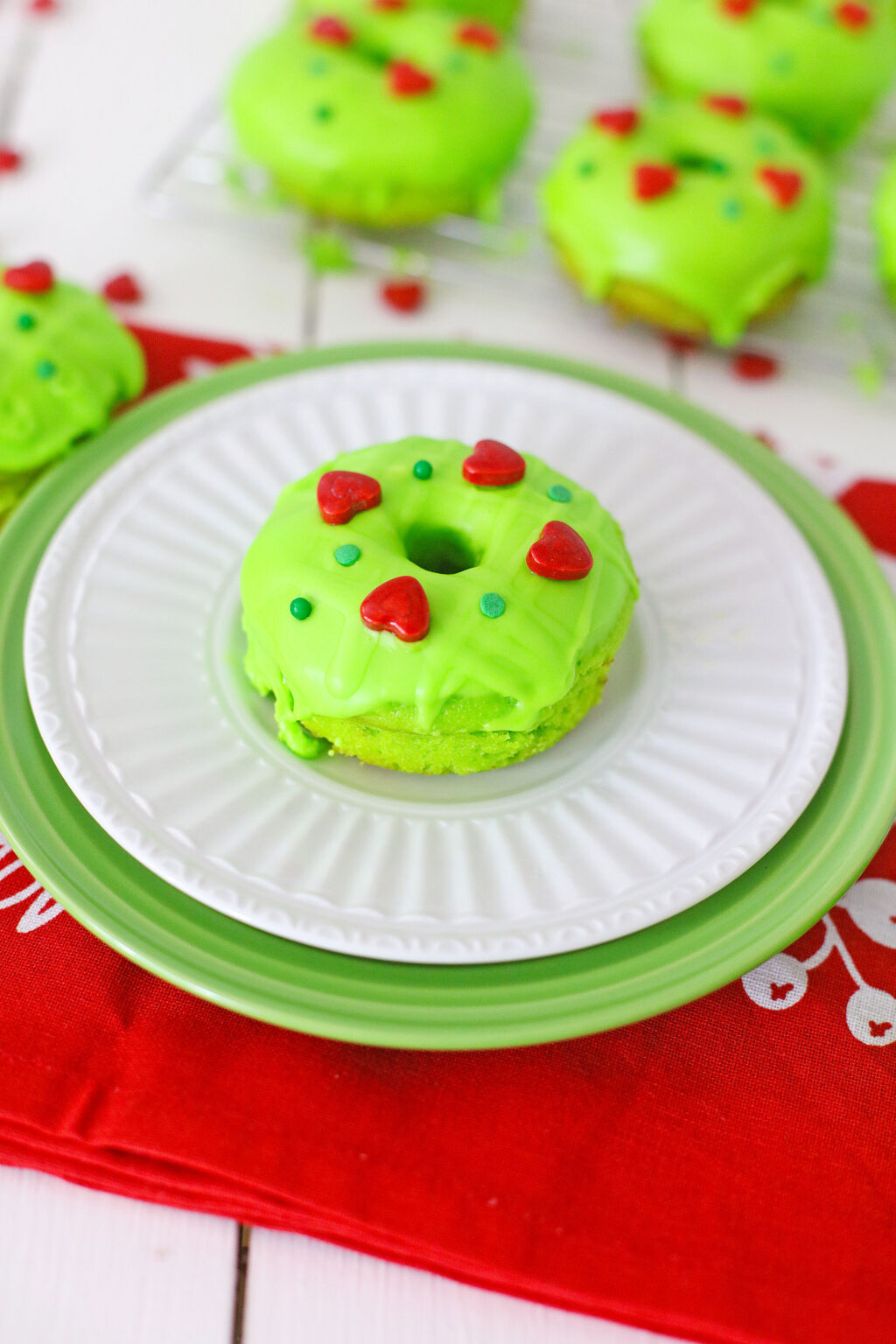 grinch donut on white plate