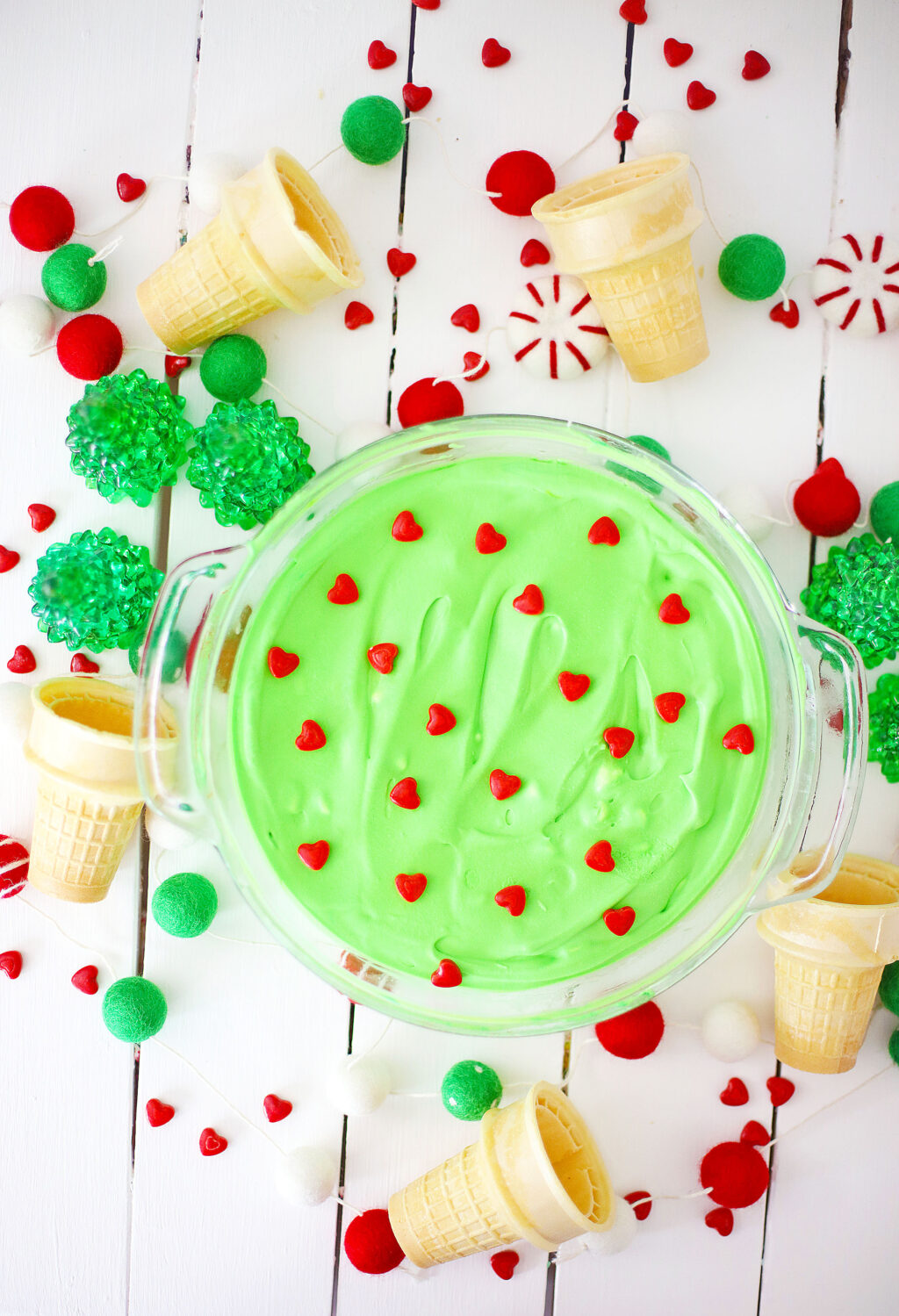 grinch ice cream in a large glass bowl