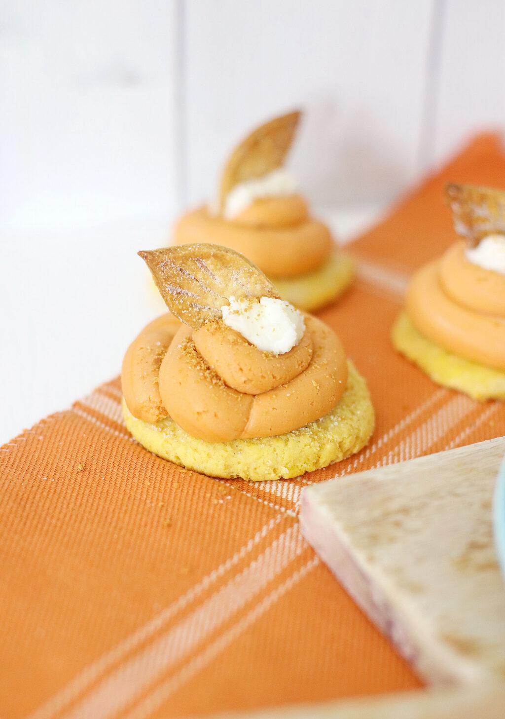 pumpkin pie cookies on an orange napkin